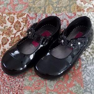 Rachel Mary Jane Black Girls/Baby Shoes/Flower